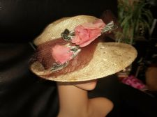 ELEGANT LADIES STRAW HAT WITH ORGANZA BOW CHIFFON FLOWERS MILLE FLEURS